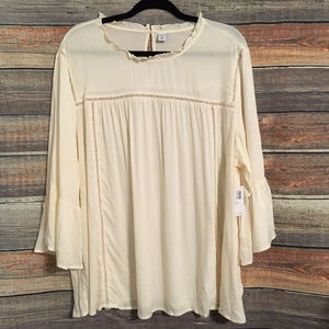 Old navy cream bell sleeve blouse